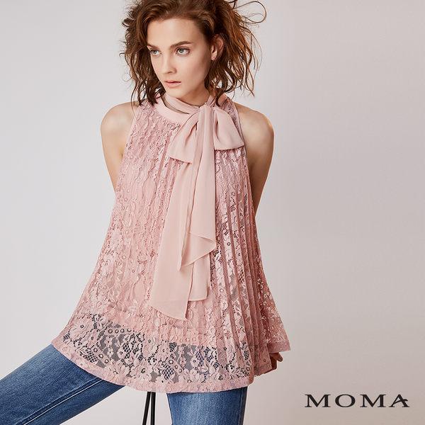 MOMA 蕾絲壓褶削肩上衣