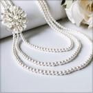 [L033-S]三圈長珍珠花朵鑽飾長項鍊~美之札