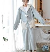浴袍  星星睡袍女秋冬長款珊瑚絨浴袍冬季加絨加厚情侶款絨睡衣  艾森堡
