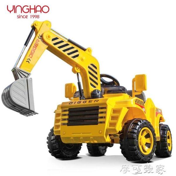 挖土機鷹豪大號兒童電動挖掘機遙控玩具可坐可騎挖土機工程車滑行四輪MKS摩可美家