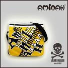 美式風格 骷髏頭 字母側背包 / 斜背包 / 郵差包 黃配黑 AMINAH~【am-0182】