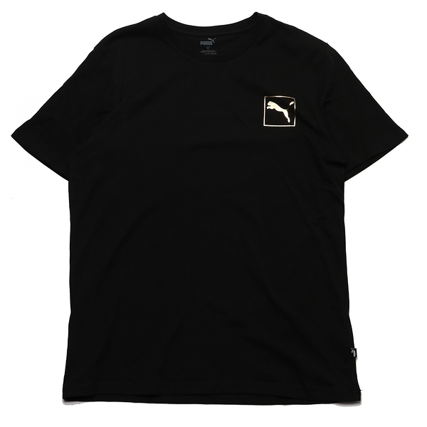 PUMA 短T 黑 金 塗鴉LOGO 亞規 圓領 上衣 男 (布魯克林) 58451701