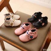 兒童花邊甜美公主鞋秋冬新款寶寶鞋牛筋軟底短靴單靴女童小皮鞋潮