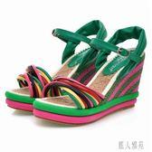 新款坡跟涼鞋波西米亞拼色草編厚底高跟防水臺羅馬涼鞋女xy236『麗人雅苑』