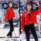 紅色牛仔外套女春秋2018新款短款小夾克韓版學生bf原宿風寬鬆衣服