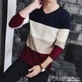 男士修身條紋學院風針織衫V領毛衣韓版打底衫新款長袖上衣服男裝 深藏blue