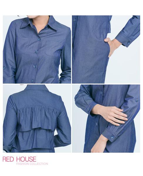 RED HOUSE-蕾赫斯-牛仔波浪襯衫洋裝(藍色)