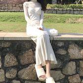 連身裙復古韓風新款超美仙氣色繫閃閃直筒吊帶魚尾洋裝長裙女【販衣小築】