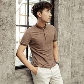 潮男英倫休閒夏季短袖polo衫條紋韓版潮流修身翻領上衣裝青年T恤 卡布奇諾