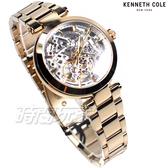 Kenneth Cole 貴族氣質 雙面鏤空 腕錶 自動上鍊機械錶 女錶 不銹鋼 優雅淺金電鍍 KC50799003