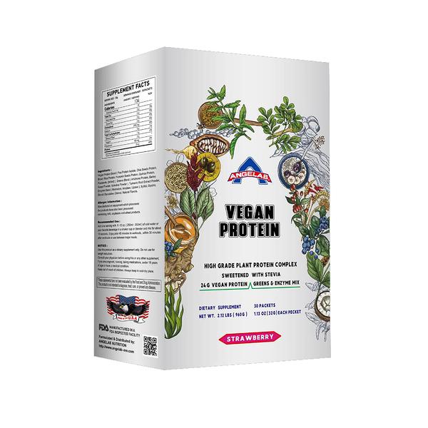美國ANGELAB PLANT PROTEIN 素食蛋白2.12 磅/960公克 (經典香草口味) 盒裝/30入 健身 素食者福音 公司貨