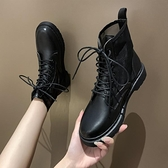 短靴 網紗透氣鏤空馬丁靴女夏季薄款百搭平底瘦瘦短靴子-Ballet朵朵