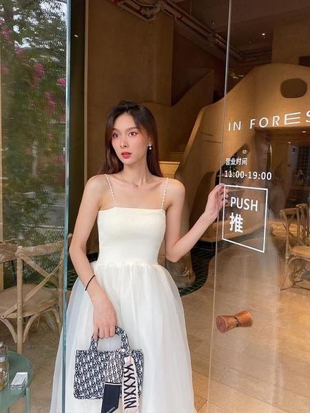 輕奢連身裙設計感小眾氣質法式茶歇溫柔風吊帶收腰名媛仙氣網紗裙 秋季新品