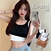 克妹Ke-Mei【AT65853】完美胸型!假二件撞色深U美背抽繩胸墊式內衣