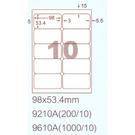 阿波羅 9210A A4 雷射噴墨影印自黏標籤貼紙 10格 切圓角 98x53.4mm 20大張入