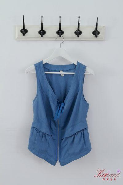 輕鬆款藍色棉麻背心