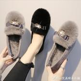 豆豆鞋獺兔毛毛鞋女豆豆鞋秋冬外穿新款百搭單鞋平底加絨一腳蹬大碼 快速出貨
