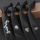 英倫風窄版個性時尚黑色刺繡花男士領帶配飾