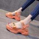 涼鞋女2021年新款夏季運動百搭厚底鬆糕鞋子網紅魔術貼時尚ins潮 果果輕時尚