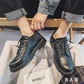 夏季大頭皮鞋男韓版潮流低幫系帶鞋子男學生圓頭黑色英倫小皮鞋男 PA17466『男人範』