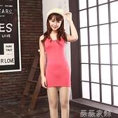 襯裙 中長款吊帶背心裙打底衫女修身Y字包臀裙夏黑色內搭襯裙外穿連身 薇薇