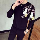 韓版 春裝新款男士中國風刺繡長袖t恤男裝2018青年動物圖案花紋長袖T恤 韓先生