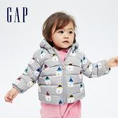 Gap嬰兒 布萊納系列 可愛熊耳刷毛連帽羽絨外套 703923-灰色
