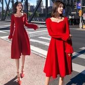 【限時下殺79折】中大尺碼禮服 中長版復古修身顯瘦大紅色尾牙洋裝