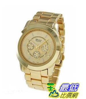 [103 美國直購] Geneva Platinum Large Face Faux Chronograph Boyfriend Watch-Gold 男款手錶 $766