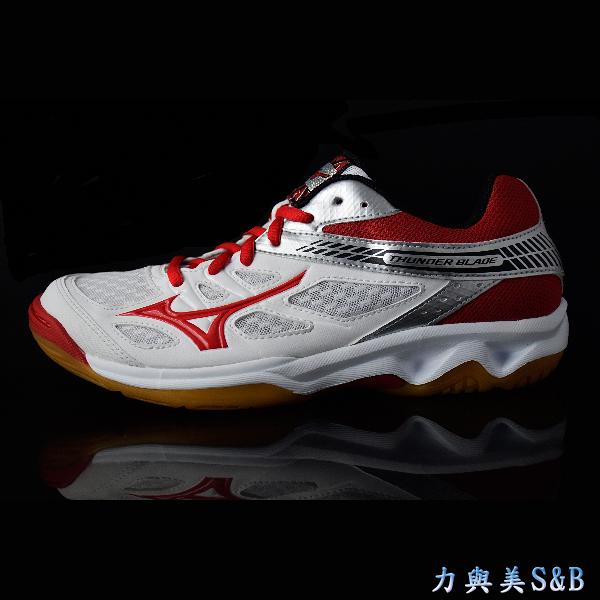 MIZUNO 排羽球鞋 耐磨鞋底 THUNDER BLADE (INDOOR) 白/紅色鞋面  【1192】