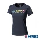 K-SWISS Neon Ks Logo Tee排汗T恤-女-黑