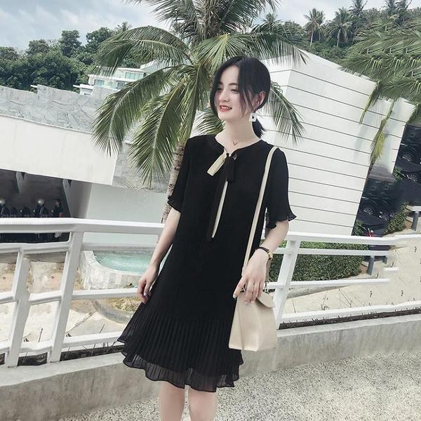 雪紡洋裝 2021新款大碼女裝胖妹妹夏季潮雪紡減齡心機裙子寬松遮肚子連衣裙 霓裳細軟