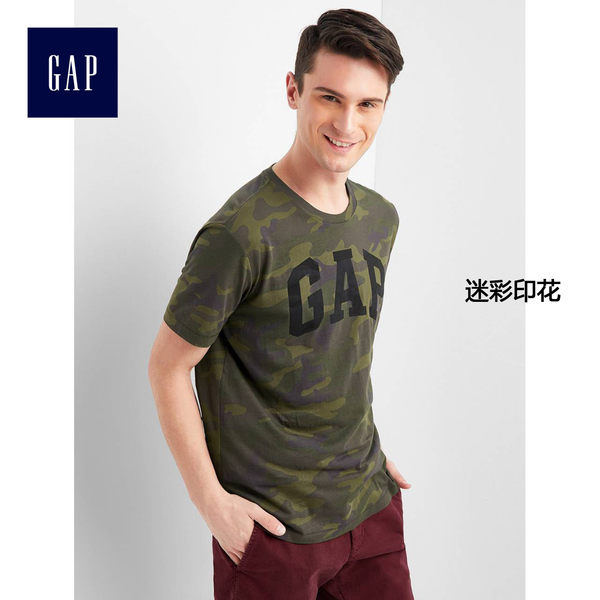Gap男裝 logo純棉迷彩男士短袖T恤 柔軟上衣男 910491-迷彩印花