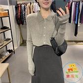 薄款針織上衣顯瘦修身長袖上衣女時尚韓版開衫