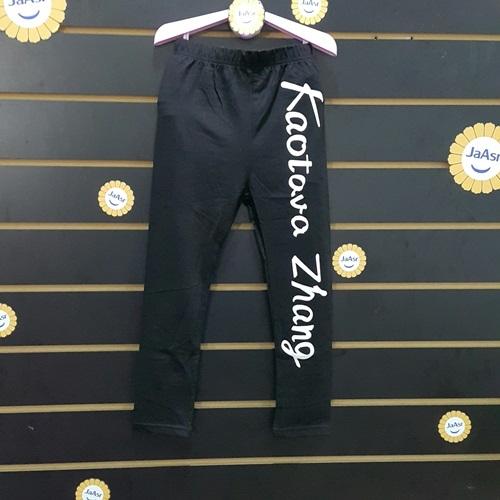 ☆棒棒糖童裝☆(A35207)秋冬女童黑色印花英文內搭長褲 5-19