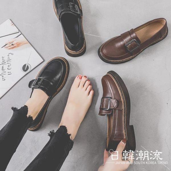 馬丁靴 英倫鞋  小皮鞋女2019春季新款英倫風套腳平底學生百搭日系單鞋復古牛津鞋