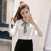 現貨出清春夏裝新款韓版中袖白襯衫女喇叭袖雪紡衫百搭寬鬆顯瘦襯衣上衣潮      俏女孩 5-14