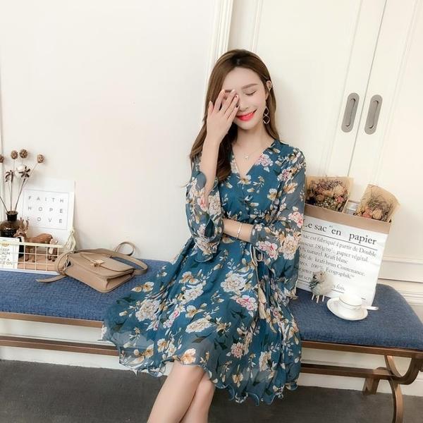 夏季韓版喇叭袖雪紡洋裝女交叉V領繫帶收腰印花沙灘裙子潮