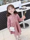女童秋裝長袖洋裝新款兒童學院風娃娃領公主裙寶寶洋氣裙子 七色堇
