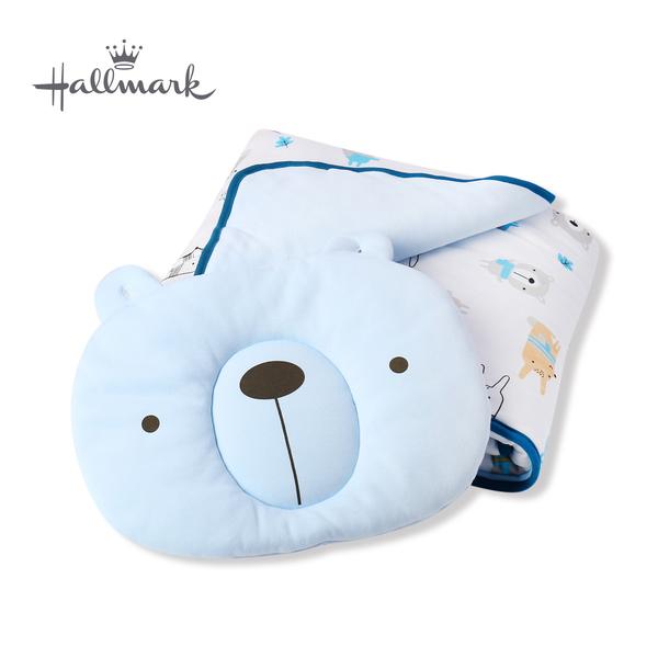 Hallmark Babies 圍巾小熊造型枕頭被子組 HH3-N01-L2-LB-MB