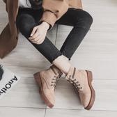 女短靴 韓版女鞋子 大碼低幫新款英倫風短靴粗跟平底學生機車靴子女馬丁靴《小師妹》sm3222