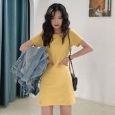 夏季韓版修身短袖連身裙網紅ins法式少女裙子2020新款流行T恤裙 韓國時尚週