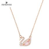 施華洛世奇 Dazzling Swan 玫金色光彩粉紅天鵝項鏈