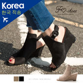 楔型.圓包釦魚口楔型涼鞋FM  美鞋韓國 .Sweetheart