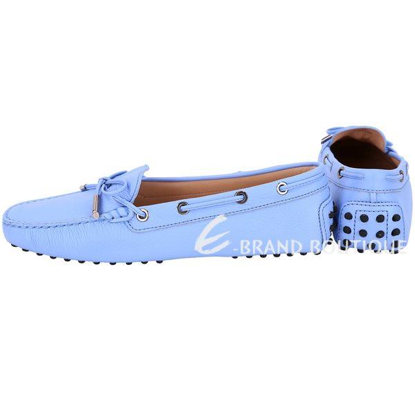 TOD'S Gommino 經典綁帶休閒豆豆鞋(女鞋/淺藍色) 1820081-27