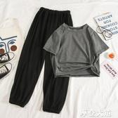 2020新款夏韓版洋氣時尚休閒運動套裝女短袖九分闊腿褲兩件套『摩登大道』