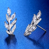 耳環 925純銀鑲鑽-樹葉造型情人節生日禮物女飾品73hk53[時尚巴黎]