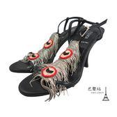 【巴黎站二手名牌專賣店】*現貨*FENDI 真品* FENDI 銀色流蘇跟鞋 涼鞋 (35.5號)