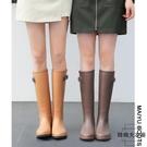 女式雨鞋女時尚款外穿雨靴長筒防水高筒水靴水鞋【時尚大衣櫥】