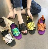 快速出貨 平底涼鞋夏季 超火羅馬鞋撞色平底鞋學生鞋露趾ins網紅 涼鞋女鞋潮